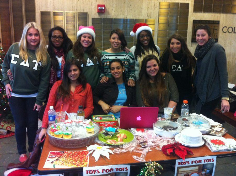 Sisters of the Delta Theta chapter during the bake sale