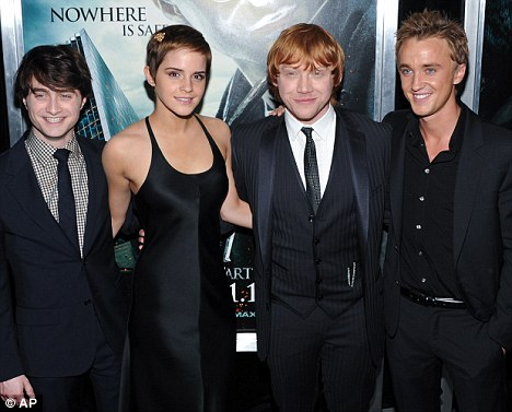 From left: Daniel Radcliffe, Emma Watson, Rupert Grint, Tom Felton