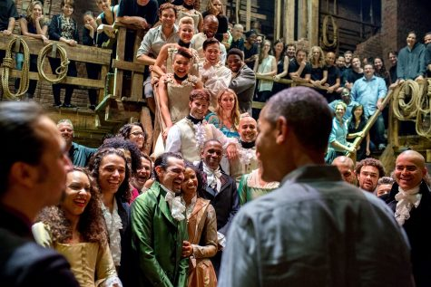 """The President greets the cast and crew of"