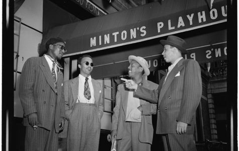 Thelonious Monk, Howard McGhee, Roy Eldridge, and Teddy Hill at Minton's Playhouse. Photo by  William P. Gottlieb